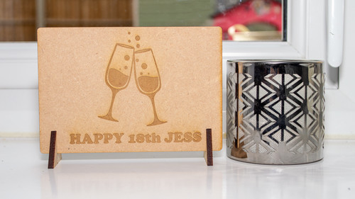 Birthday Wine Glasses Wooden Message Card
