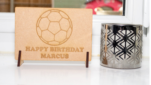 Birthday Football Wooden Message Card