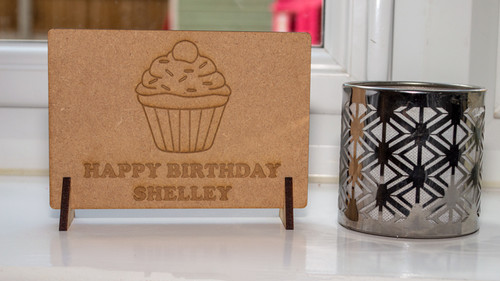 Birthday Cake Wooden Message Card