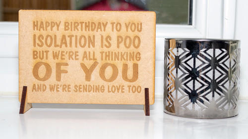 Isolation Is Poo Wooden Birthday Card