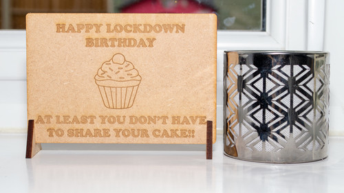 Lockdown birthday cake Wooden Birthday Card