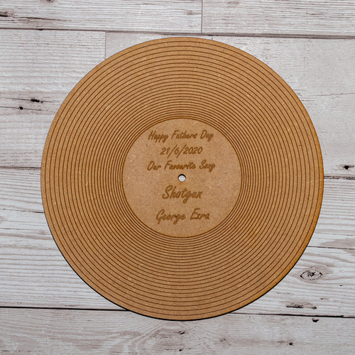 Personalised Fathers Day 7 inch Wooden Record Plaque vinyl