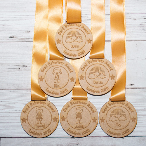 Personalised Wooden Good Behaviour Award Medal