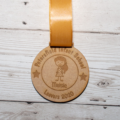 Personalised Leavers Medal wooden