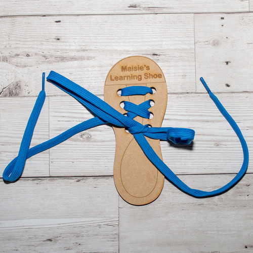personalised wooden learn to tie shoe