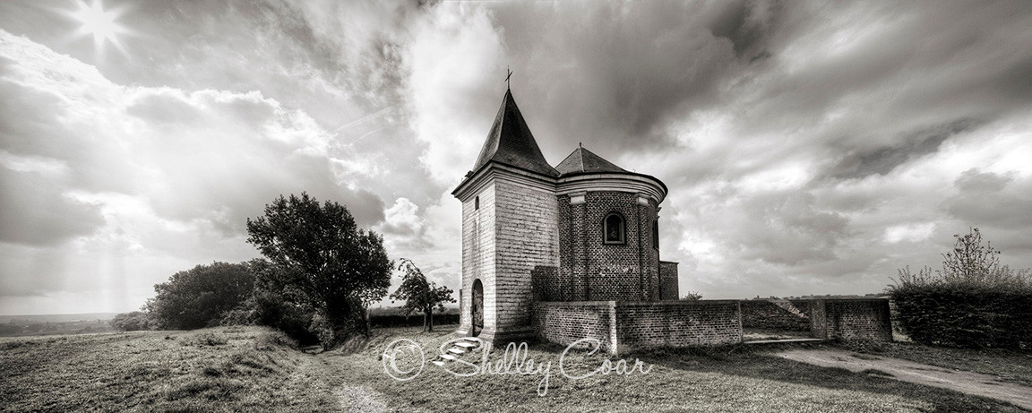 Country chapel or eglise at Hoksem, Belgium. Photographed on a summer day by Shelley Coar.