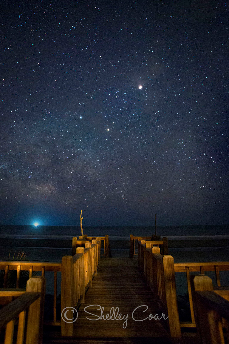 A photograph by Shelley Coar of the Milky-way rising over Fripp Island, South Carolina in the summer time.