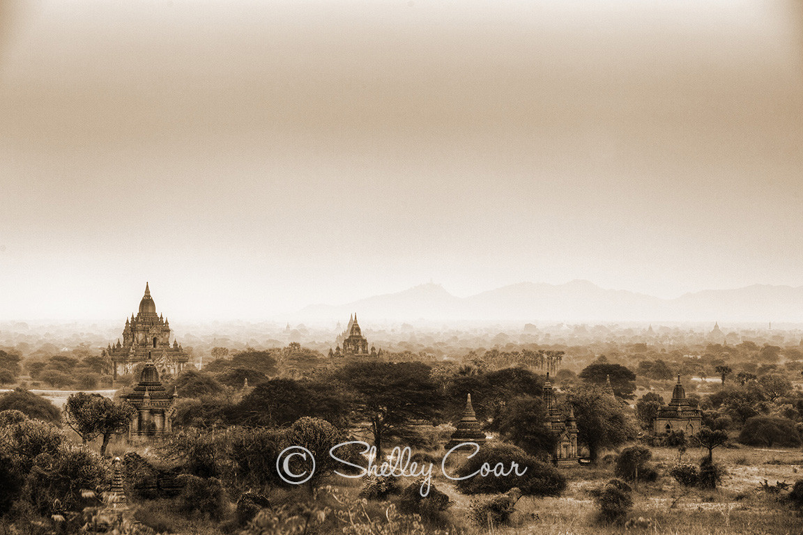 A photograph of the land of a thousand pagodas in Bagan, Mayamar by Shelley Coar.