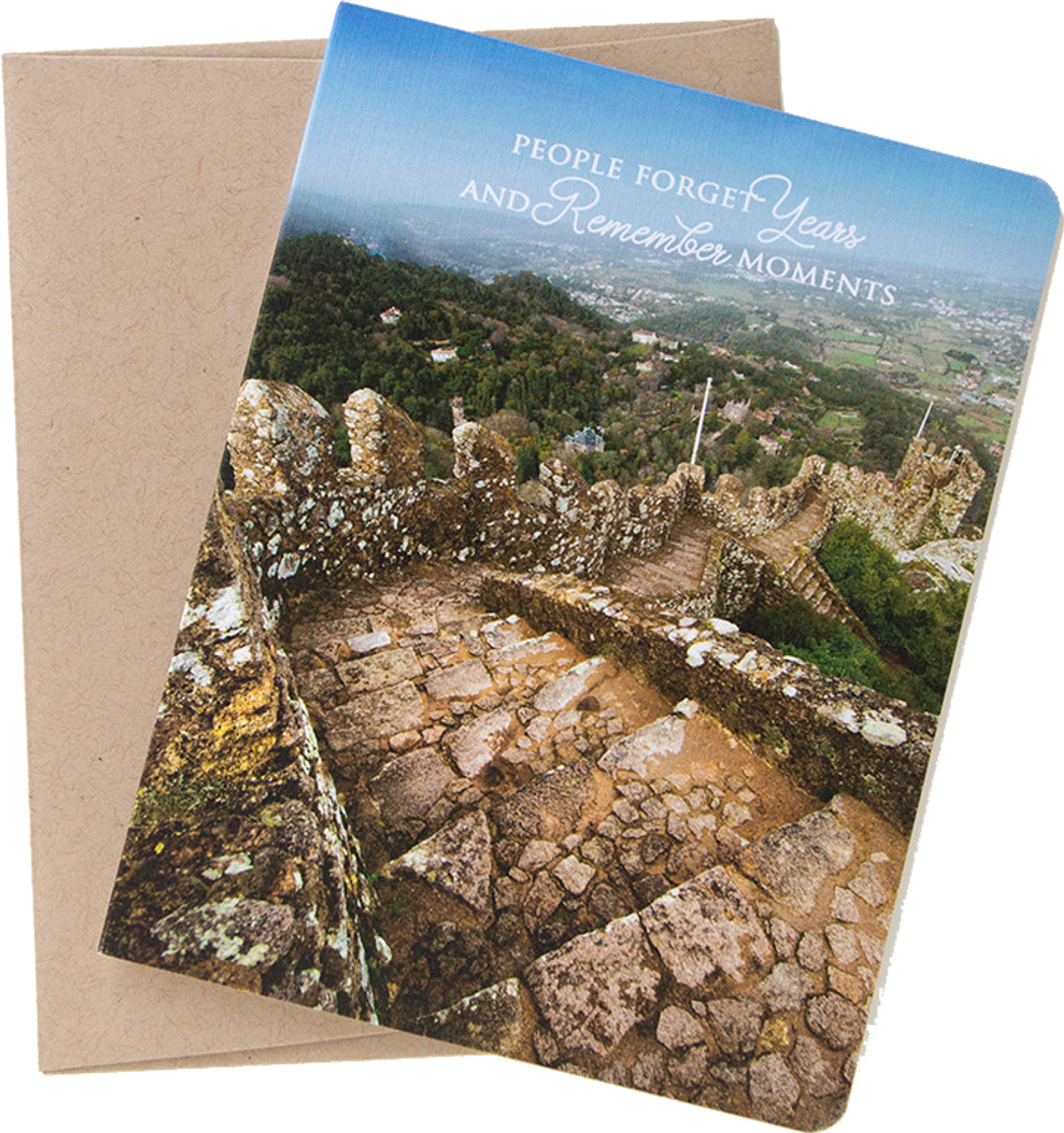 "Travel card with an image from Sintra, Portugal by photographer Shelley Coar and quote ""people forget years and remember moments."""