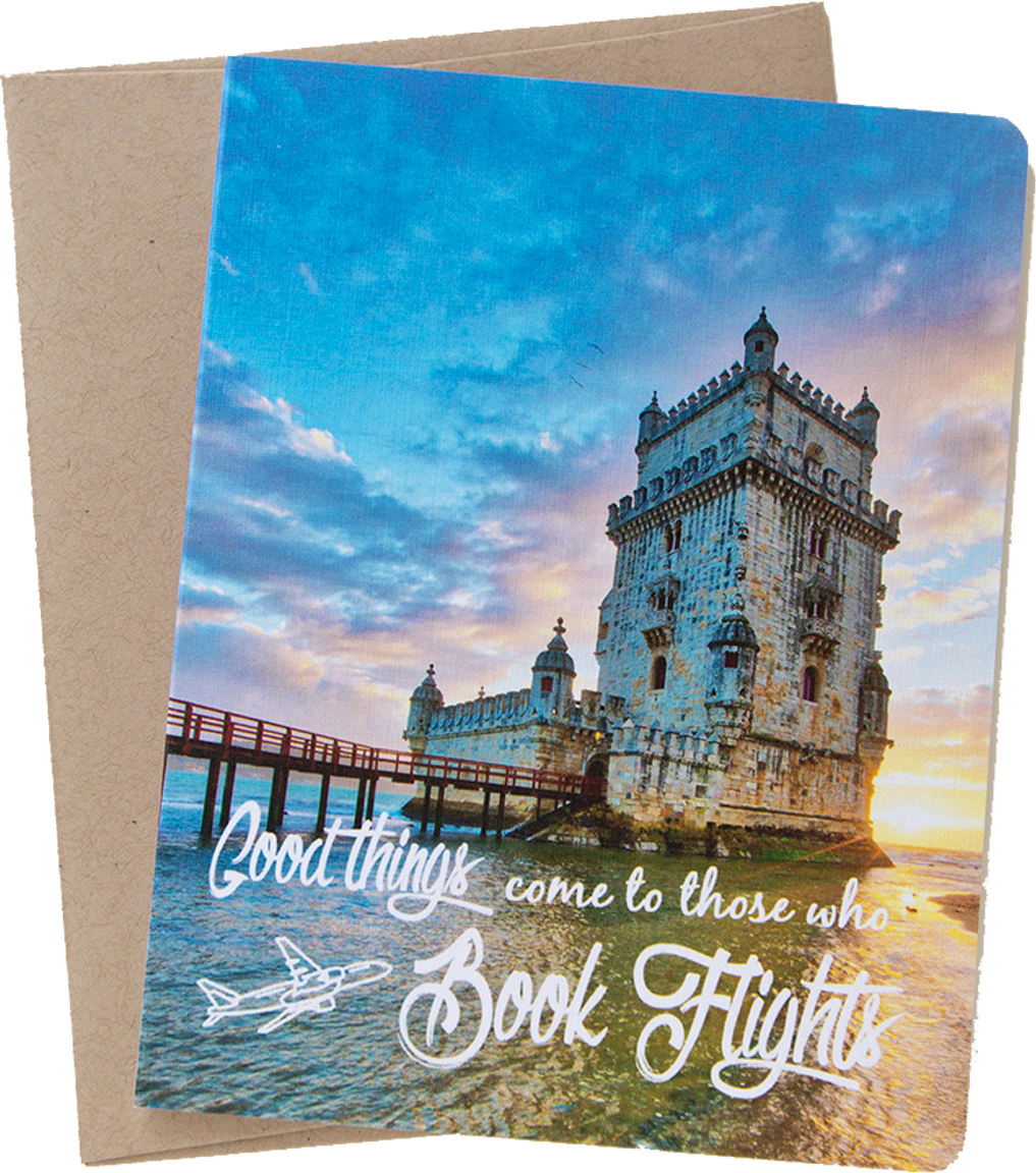 """Travel card with an image from Lisbon, Portugal by photographer Shelley Coar and quote """"Good things come to those who book flights."""""""