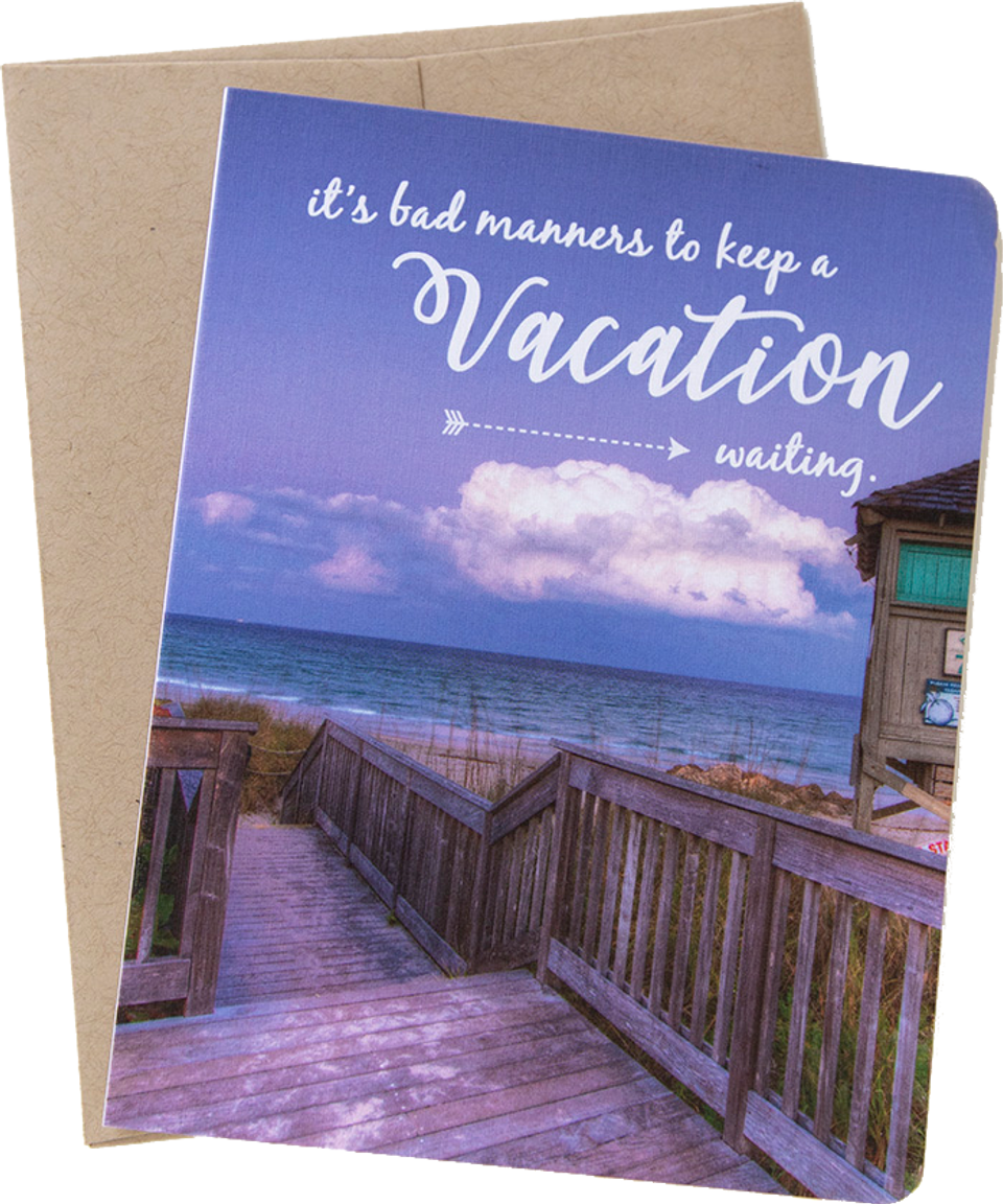 """Travel card with an image from Boca Raton, Florida by photographer Shelley Coar and quote """"It's bad manners to keep a vacation waiting."""""""