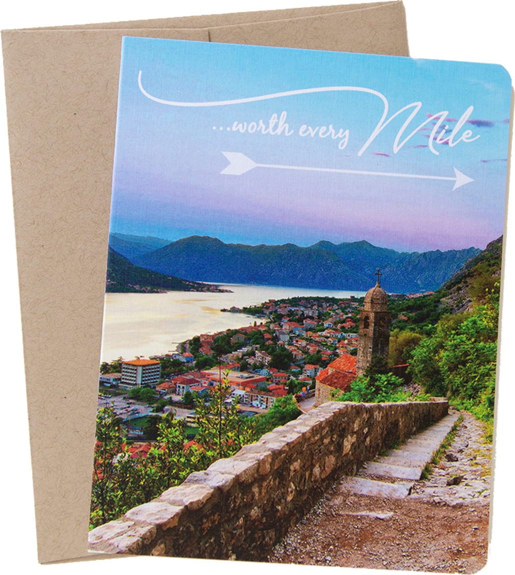 "Travel card with an image from Kotor, Montenegro by photographer Shelley Coar and quote ""Worth Every Mile."""
