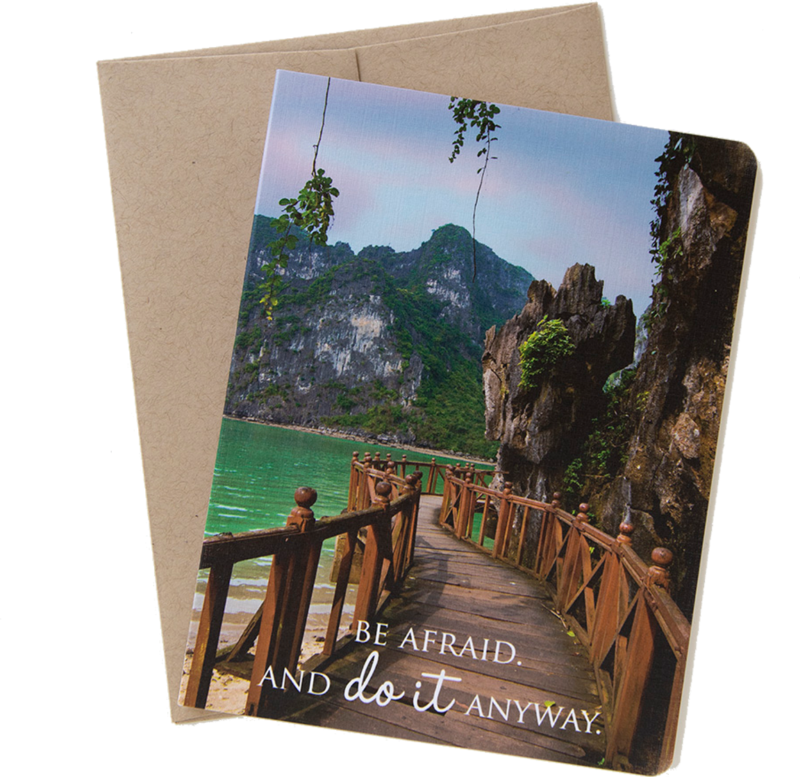 """Travel card with an image from Halong Bay, Vietnam by photographer Shelley Coar and quote """"Be Afraid. And do it Anyway."""""""