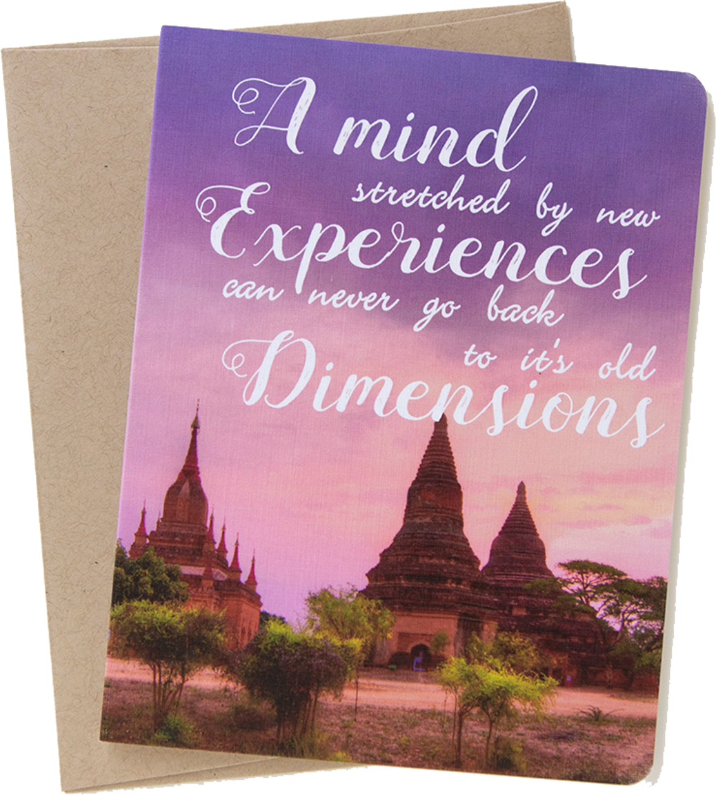 """Travel card with an image from Bagan, Mayanmar by photographer Shelley Coar and quote """"A mind stretched by new experiences can never go back to it's old dimensions."""""""