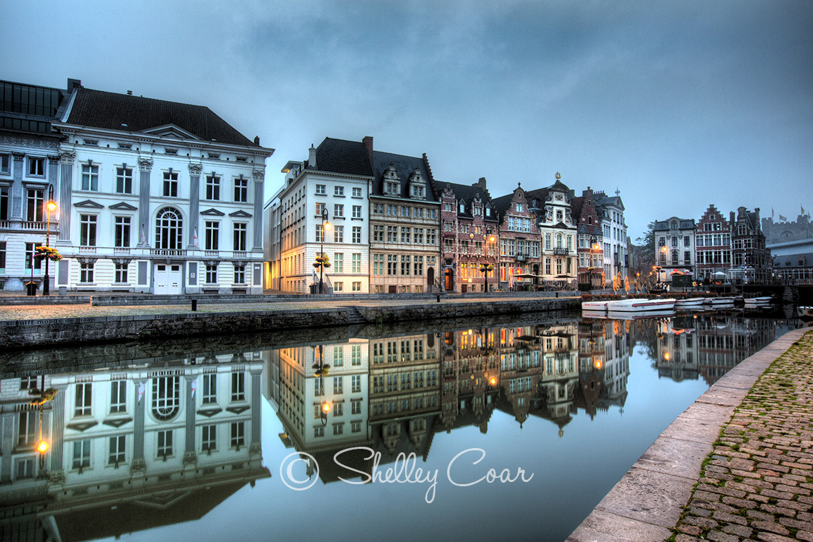 A photograph of the iconic  canals and waterways in Ghent, Belgium before daybreak by Shelley Coar.