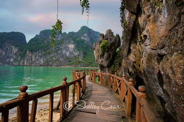A photograph of a winding path along the cliffs of Halong Bay, Vietnam by Shelley Coar.