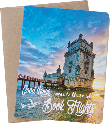 "Travel card with an image from Lisbon, Portugal by photographer Shelley Coar and quote ""Good things come to those who book flights."""