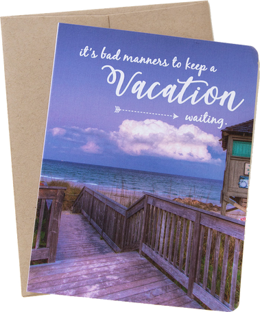 "Travel card with an image from Boca Raton, Florida by photographer Shelley Coar and quote ""It's bad manners to keep a vacation waiting."""