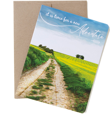 "Travel card with an image from the Belgian countryside by photographer Shelley Coar and quote ""It's time for a new adventure."""