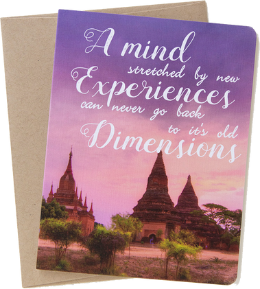 "Travel card with an image from Bagan, Mayanmar by photographer Shelley Coar and quote ""A mind stretched by new experiences can never go back to it's old dimensions."""