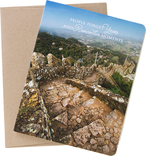 """Travel card with an image from Sintra, Portugal by photographer Shelley Coar and quote """"people forget years and remember moments."""""""