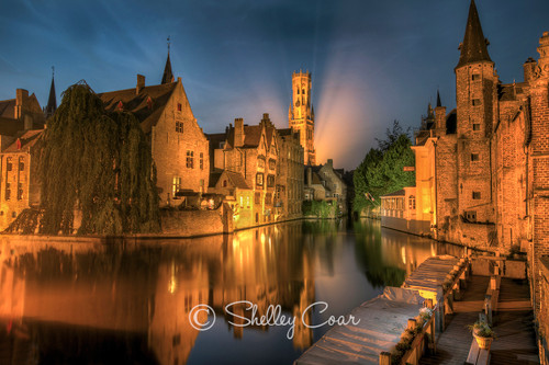 Photograph of the iconic belfry in Bruges, Belgium at dusk by Shelley Coar.