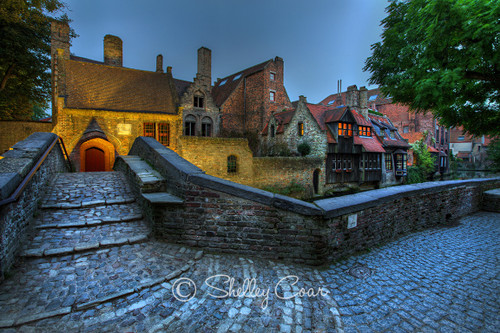 Photograph of the iconic bridge in Bruges, Belgium at dusk by Shelley Coar.