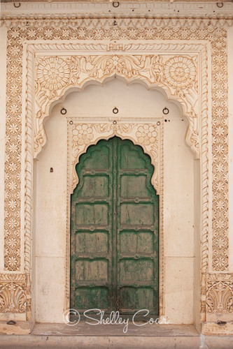 A photograph of an ornate door and archway in Rajashtan, India by Shelley Coar.