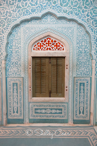 A photograph of the interior window of the Samode Palace in Rajashtan, India by Shelley Coar.