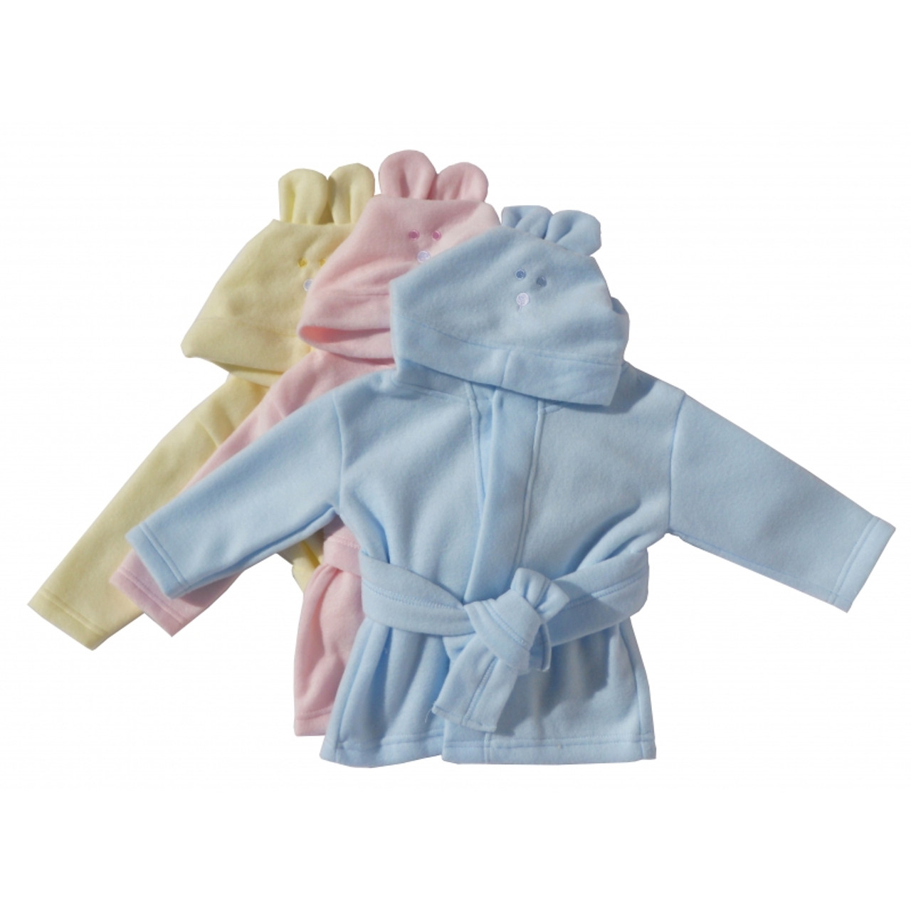 Fleece Pastel Infant Bath Robe With Rabbit Ears Hoodie