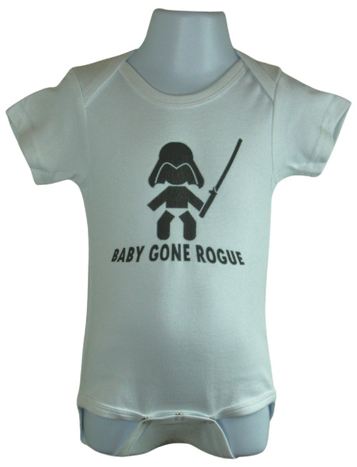 """Baby Gone Rogue - Funny Baby Romper - 100% cotton. Available in Size 0-6 months, 6 - 12 Months, 12 - 18 Months.  """"Welcome To The Dark Side"""" printed underneath leg closure lower flap."""