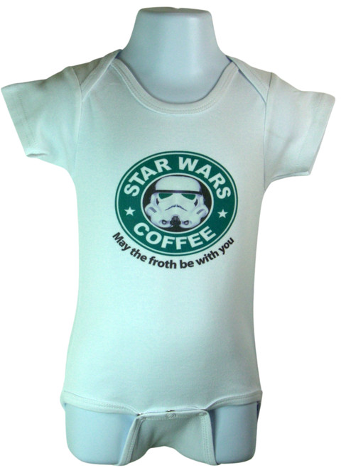 Cute and funny Star Wars parody baby romper. 100% cotton. For all star wars fan. Size Available 3-6 months, 6-12 months, 12-18 months