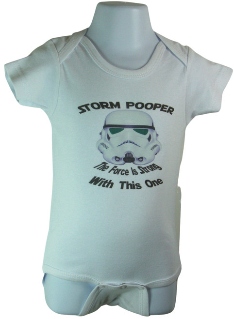 "Storm Trooper and ""The force is strong with this one"" Baby Onesie Sizes Available 3-6 months, 6-12 months,12-18 months"