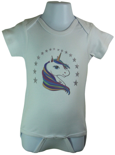 Unicorn with glitter vinyl stars baby onesie Available in sizes 3-6 Months, 6-12 Months,12-18 Months
