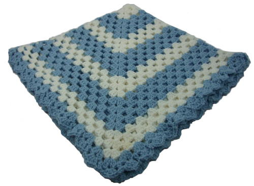 """Blue and White Granny Square Handmade Crocheted Baby Blanket Size 30"""" x 30"""""""