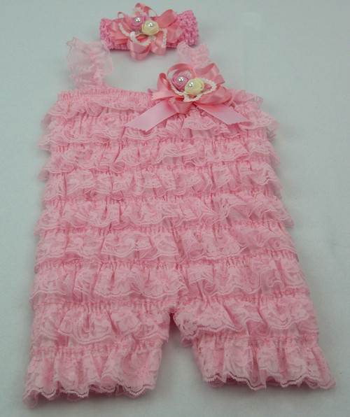 Lace Romper and Headband Set. Available in sizes 3-6, 6-12, 12-18 months,  Colors  Pink, White, Red, Aqua.