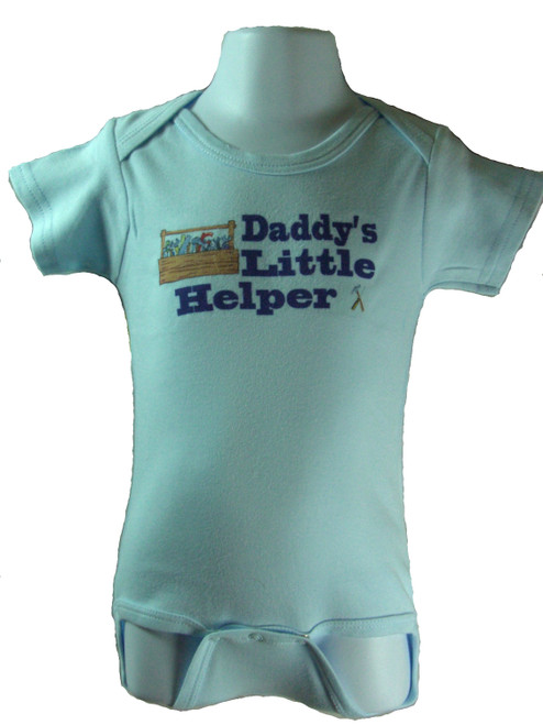 Daddy's Little Helper is available in sizes 3-6 Months, 6-12 Months, 12-18 Months   Printed on a Blue Bodysuit