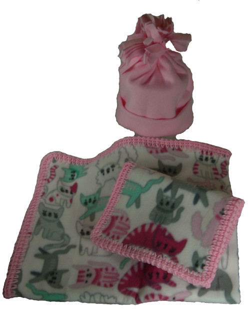 Fleece Blanket, Burp Cloth, Hat with Kids Print Set
