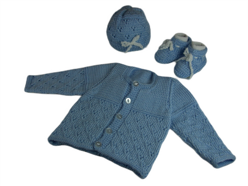 This adorable knit Cardigan sweater, hat and booties set are perfect for those chilly evenings out. Size Newborn to 6 Months