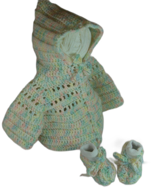 Hand Crafted Crocheted Hoodie Sweater With Matching Booties Size: 6 To 9 Months