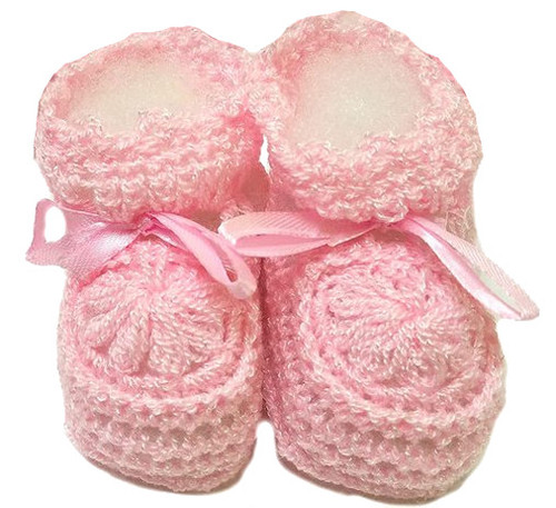 Handmade Crocheted Booties With Ribbon Size 0 - 3 months