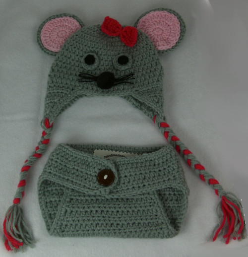 Mouse Hat With Matching Diaper Cover Size Newborn to 3 Months