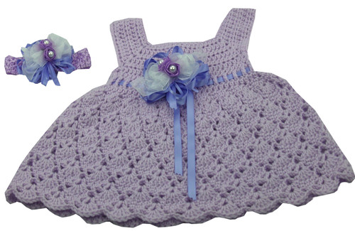 Handmade Crocheted Dress With Matching Headband (Lilac)