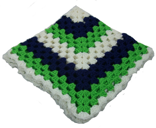 """Lime Green, Navy Blue, White with White Edge Size 30"""" x 30"""" Handmade Blanket Sports Themed Colors Blankets"""
