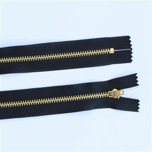 25cm Black Metal Gold tooth zip