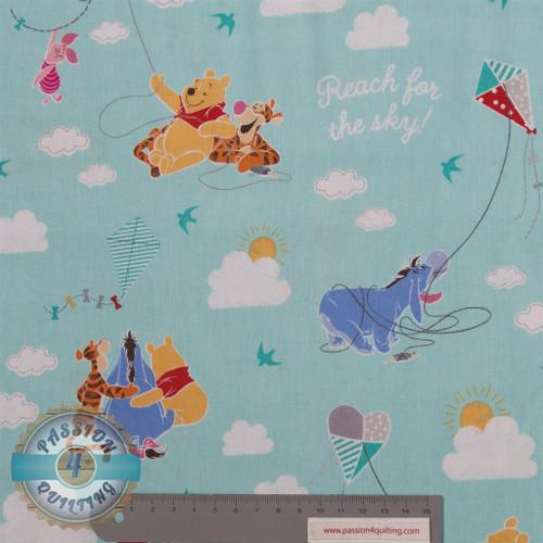 Winnie the poo fabric blue per 25cm