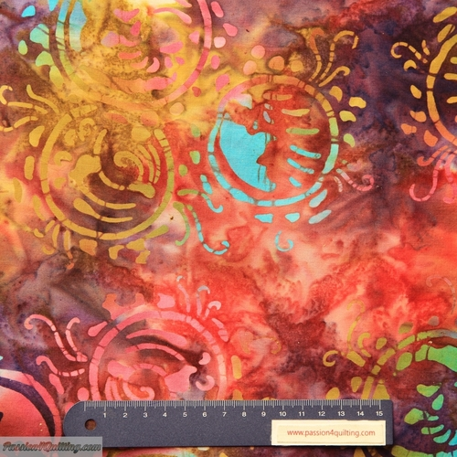 Batik  multi colour per 25cm