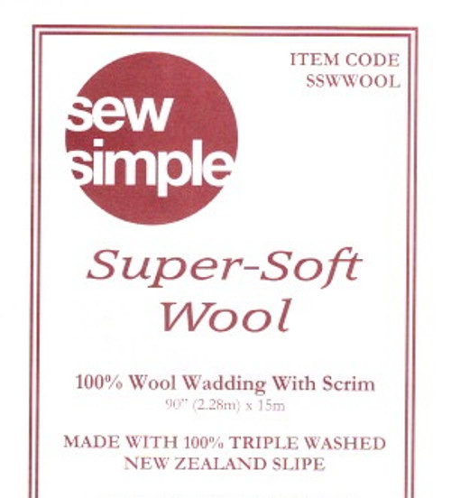 "Sew Simple Super Soft Wool Batting - Wadding  90"" wide. Per 25cm"