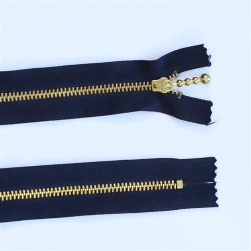 29cm Black Metal Gold tooth zip