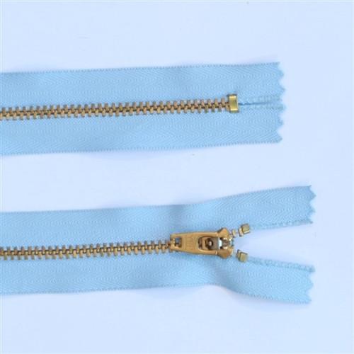 25cm Light blue gold tooth metal zip